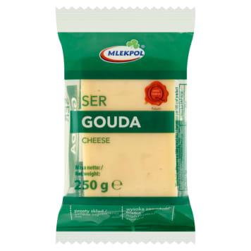 Tradycyjny ser żółty Gouda w kawałku – Mlekpol. Można stosować do kanapek i zapiekanek.