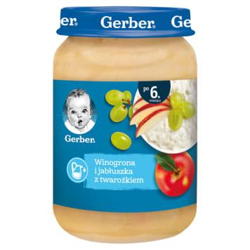 Gerber Deserek Winogrona i jabłka z twarożkiem po 6 miesiącu - źródło wapnia i witamin dla maluchów.