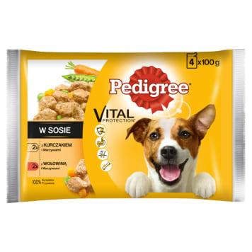 PEDIGREE Adult Pokarm dla Psów – Kurczak/Warzywa i Wołowina/Warzywa (4 szt.) 400g