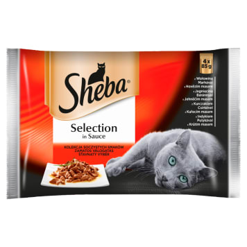 SHEBA Selection in Sauce Pokarm dla kotów - Soczyste Smaki (4 saszetki) 340g