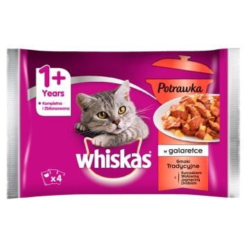 WHISKAS Potrawka 1+ Pokarm dla Kotów - Smaki Tradycyjne w Galarecie (4 saszetki) 340g