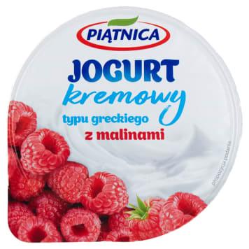 Jogurt typu greckiego 0% - Piątnica. Pyszny smak jogurtu połączony ze słodkimi malinami.