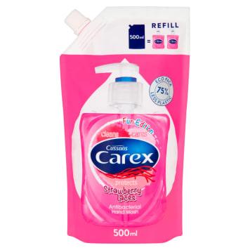 Carex Kids Antybakteryjne mydło w płynie Strawberry Candy pomaga dbać o higienę rąk dzieci.