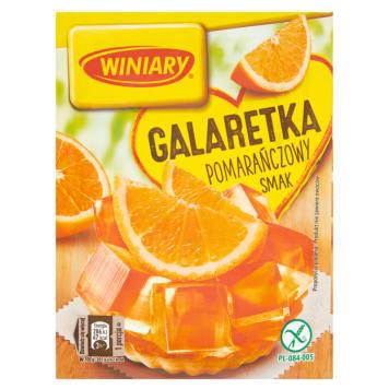 Winiary Galaretka o smaku pomarańczowym to gotowy deser i wyśmienite uzupełnienie domowych wypieków.