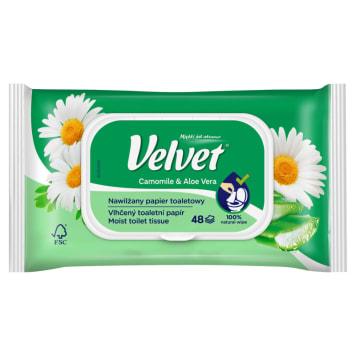 Papier toaletowy nawilżany  - Velvet. Nawilżany papier toaletowy wzbogacony o ekstrakt z rumianku