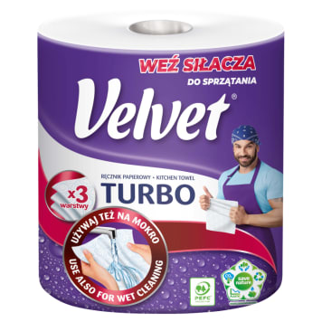 Velvet Turbo – ręcznik papierowy o dużej chłonności. Idealny do wielu domowych czynności.