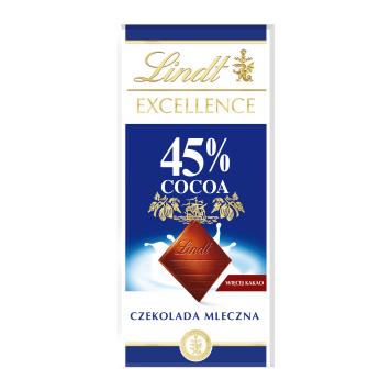 LINDT EXCELLENCE Czekolada mleczna z 45% zawartością kakao 80g