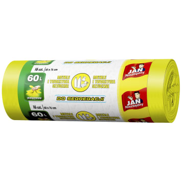JAN NIEZBĘDNY Worki do segregacji śmieci 60l 16 szt - żółty 1szt