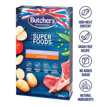 BUTCHER'S Superfoods treats Przysmaki dla psa z jagnięciną i jabłkiem 320g