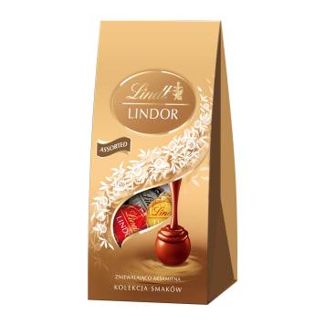 LINDT Lindor Praliny z czekolady mlecznej, białej i gorzkiej 100g