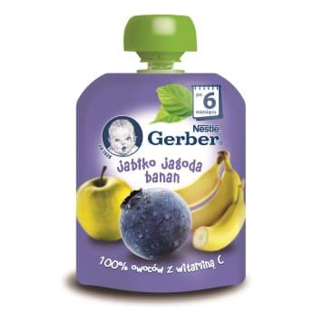 Deserek po 6. miesiącu Gerber z bananów, jabłek i jagód.