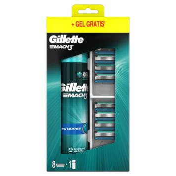 GILLETTE Mach3 Ostrza wymienne do maszynki 8 szt.+ żel do golenia Extra Comfort 1szt