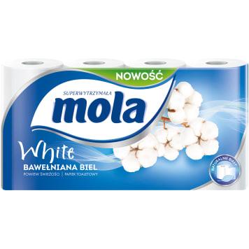 Papier toaletowy - Mola. Papier z tłoczeniami, łączącymi warstwy bibuły. Wytrzymały i puszysty!