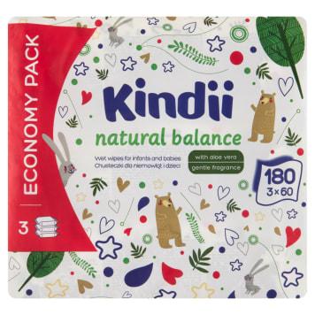 KINDII Natural Balance Chusteczki nawilżane dla dzieci i niemowląt 3x60 szt 1szt