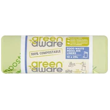 GREENAWARE Kompostowalne worki na odpady spożywcze 25L, 10 szt. 1szt