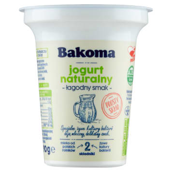 BAKOMA Jogurt Naturalny Łagodny Smak 290g