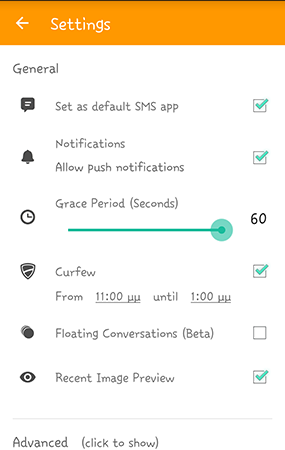 On Second Thought SMS settings