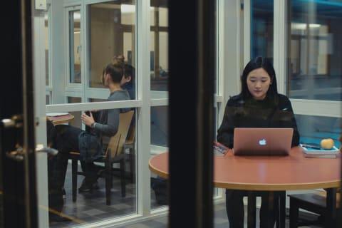 En kvinnlig student sitter i ett grupprum på Jönköping University. Grupprummen har glasväggar och bakom kvinnan sitter ytterligare en grupp studenter i ett annat grupprum. Kvinnan skriver på sin laptop. På bordet finns även böcker och ett äpple.