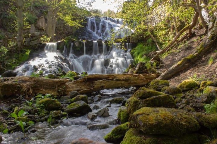 Ett vattenfall fotograferat framifrån. Vattnet forsar ner över stenar och trästockar.