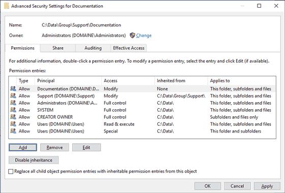 NTFS Inheritance