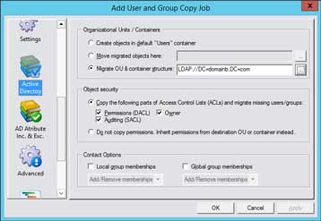 CopyRight2 Active Directory Object Security Migration Settings