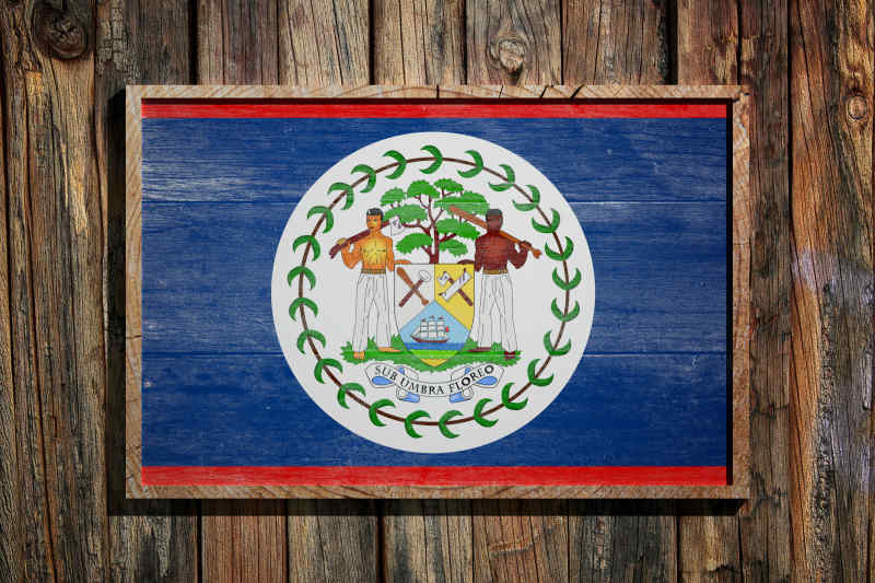 Belize flag painted on wood