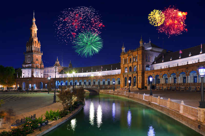 Fireworks Display in Seville, Spain