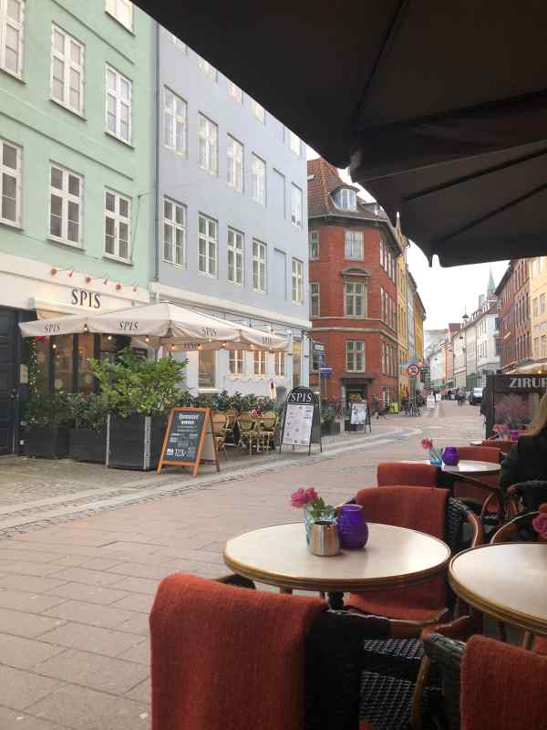 Cafes lining the streets in Copenhagen