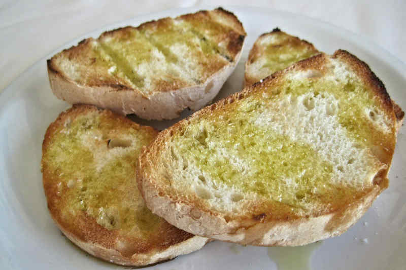Crostini with Olive Oil in Tuscany, Italy