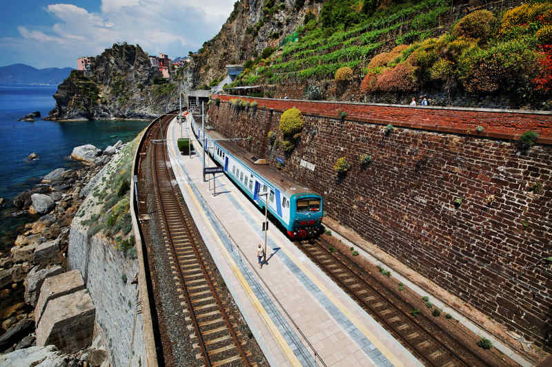 Train on Italian Riviera