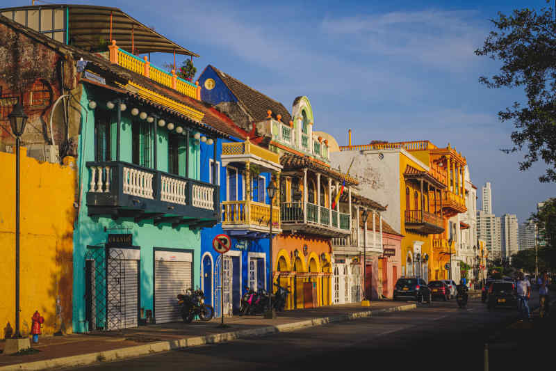 Colorful, colonial buildings in Cartagena, Colombia.