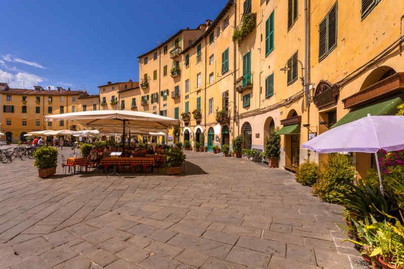 Piazza del Anfiteatro in Lucca, Italy