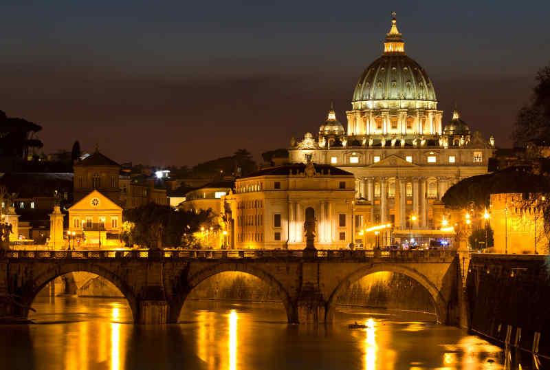 St. Peter's Basilica at night, Rome