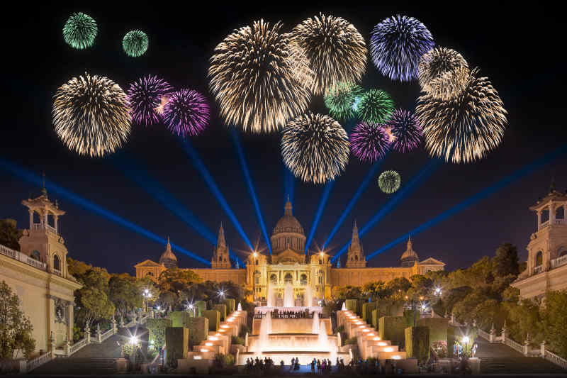 Fireworks in Barcelona, Spain