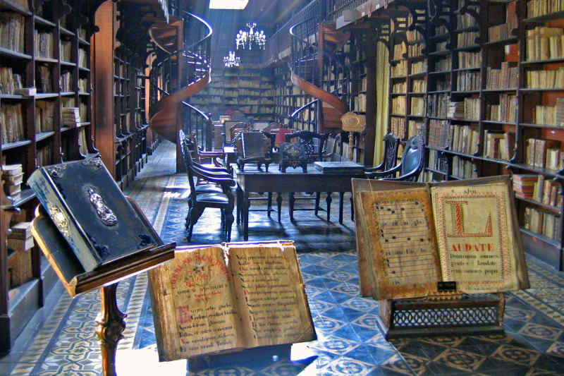 Library at Saint Francis Monastery in Lima, Peru