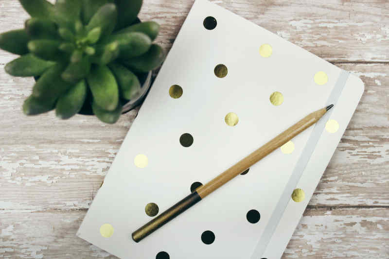 Polka dotted journal and a pencil.