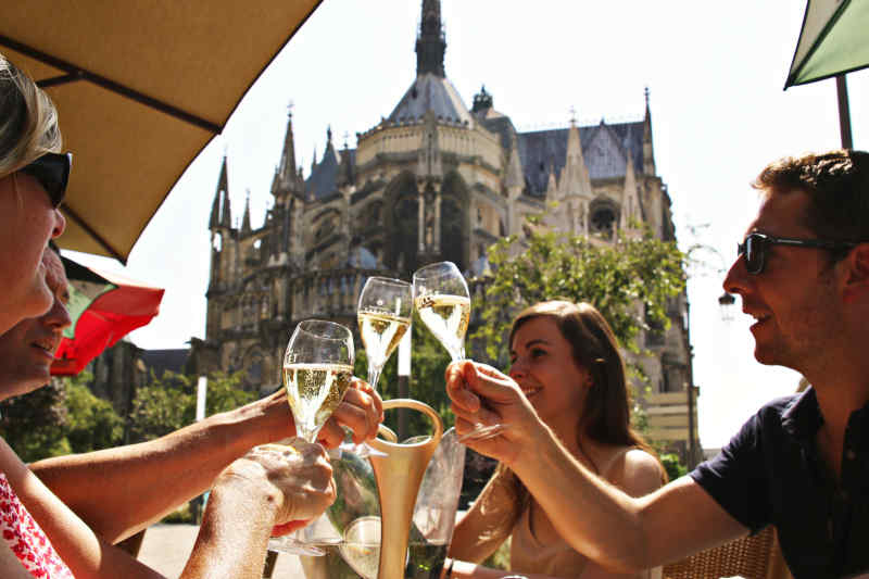 Drinking champagne in Reims