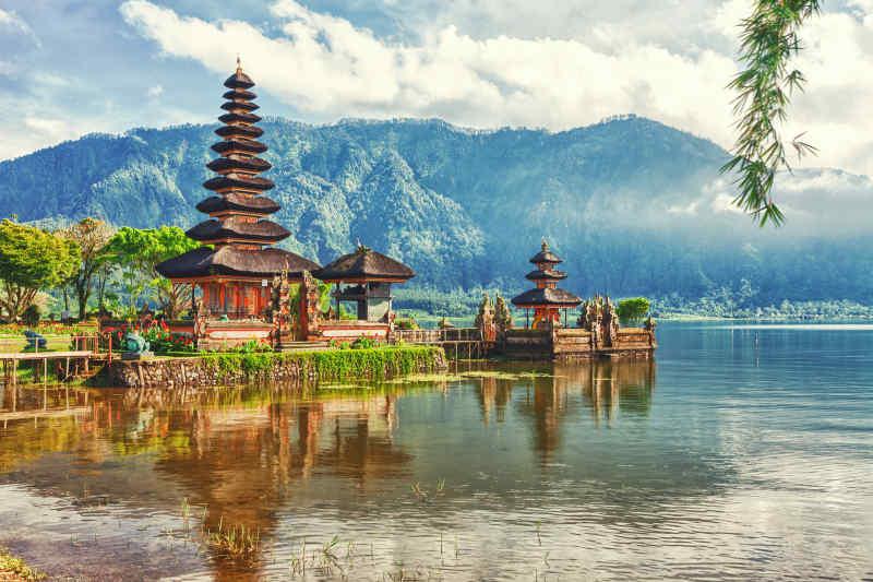 Ulun Danu Beratan Temple on Bali, Indonesia