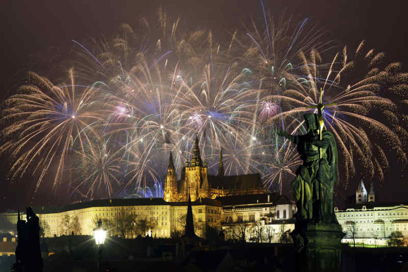 Fireworks in Prague, Czech Republic