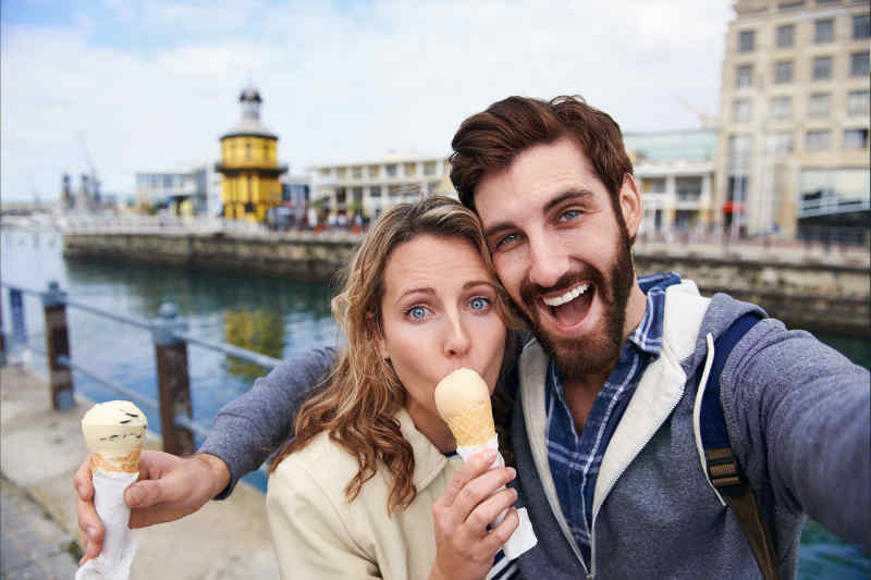 Couple taking vacation selfie
