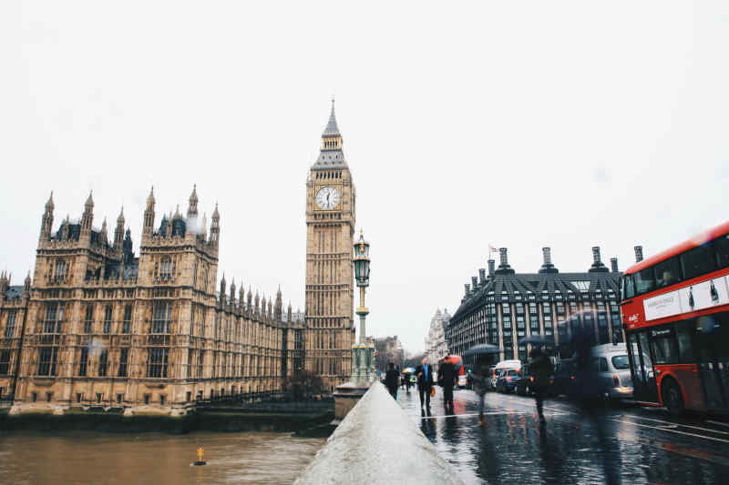 Big Ben and Westminster Bridge in London, England