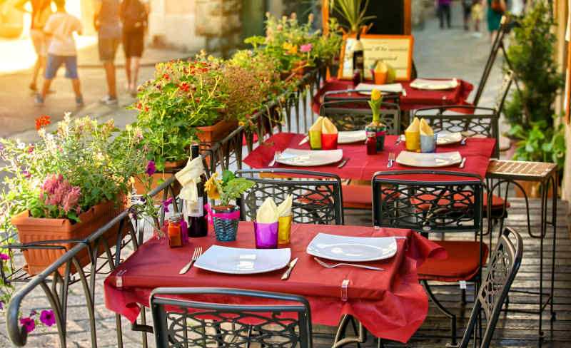 Outdoor cafe in Tuscany, Italy