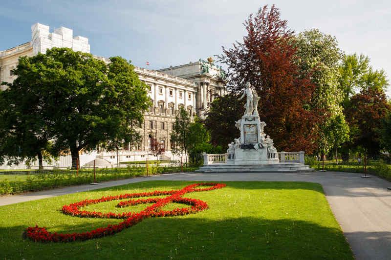 Mozart Statue at Burggarten Park