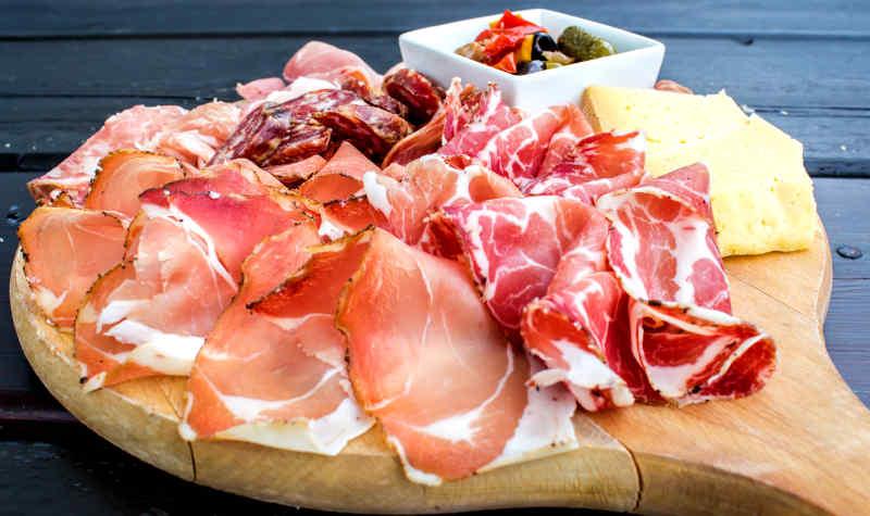 Antipasto platter in Tuscany, Italy