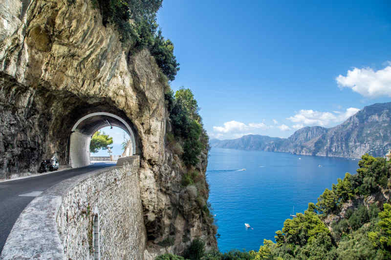 Scenic drive along the Amalfi Coast of Italy