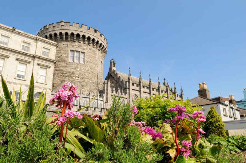 Dublin Castle from Dubh Linn Garden in Dublin, Ireland