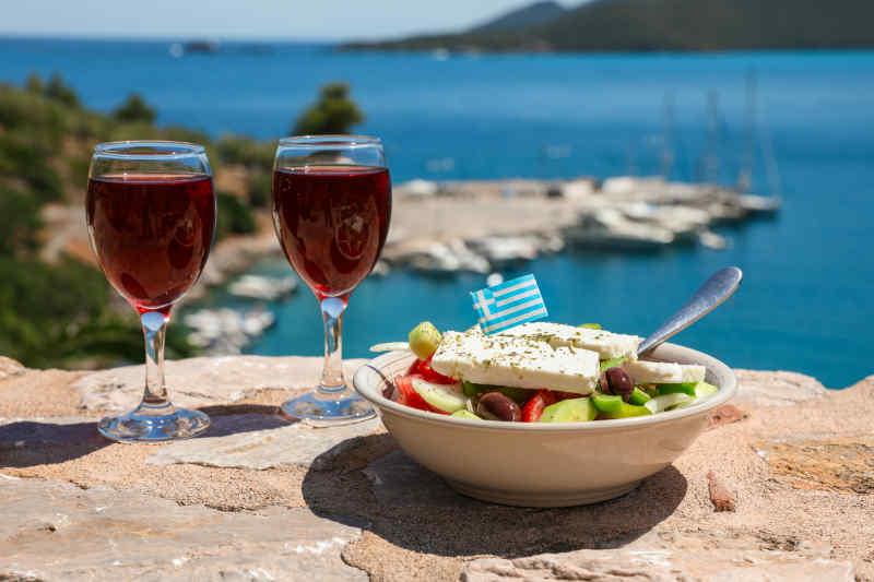 Retsina Wine and Salad