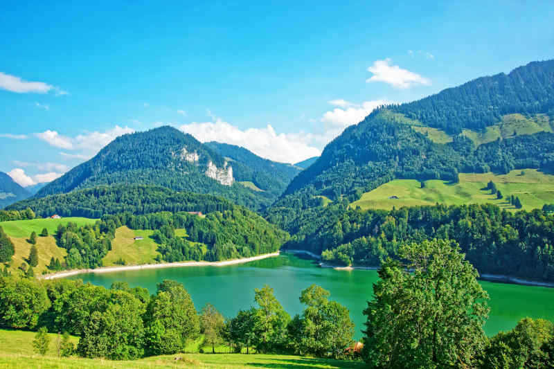 Lake Montsalvens in Gruyere District of Switzerland