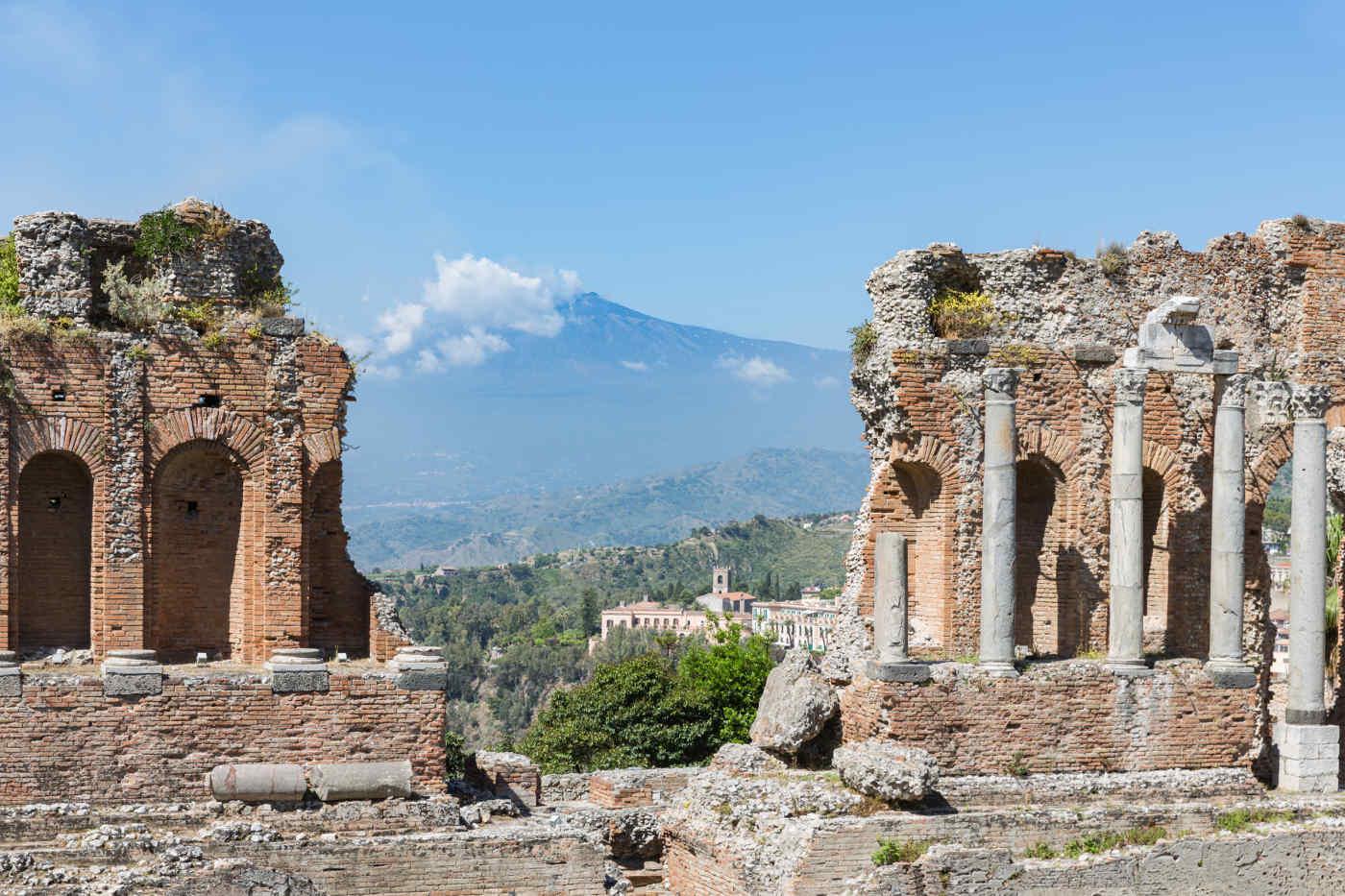 Ancient Greek Theater in Taormina, Sicily