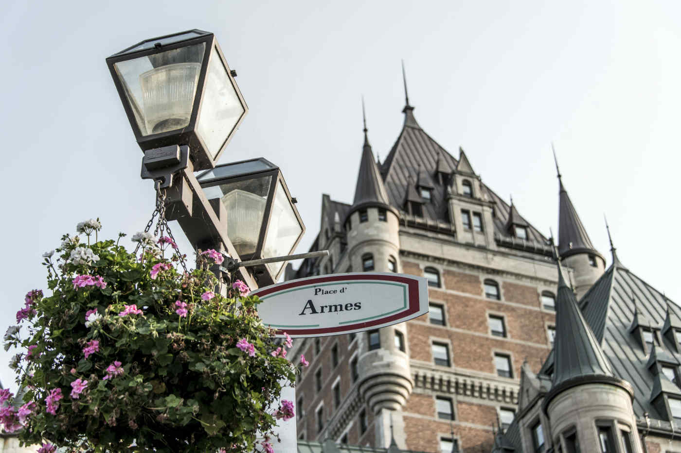 Place d'Armes sign in front of Chateau Frontenac
